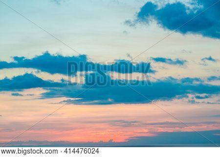 Sunset Colors In Heaven, Natural Environmental Background Bright Orange Sky