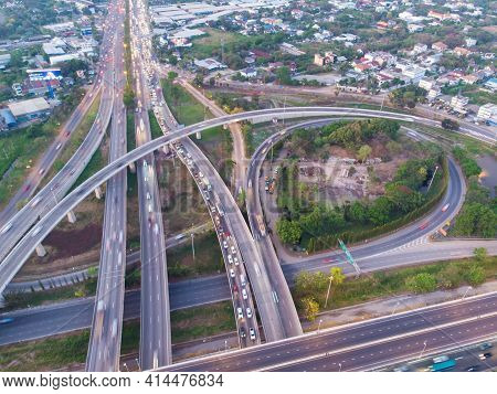 Top Aerial View Highway Interchange Of A City Building