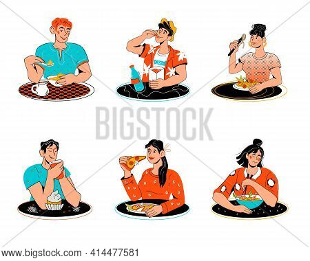 Set Of People Men And Women Eating Various Food, Cartoon Vector Illustration Isolated On White Backg