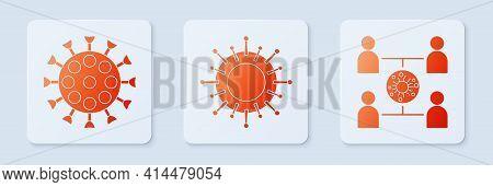 Set Virus, Virus And Virus Spread. White Square Button. Vector