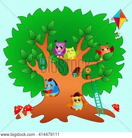 Funny Cartoon Owls Family On Big Green Tree. Cute Colored Birds On Branches And In Hollows. Fairy Ta