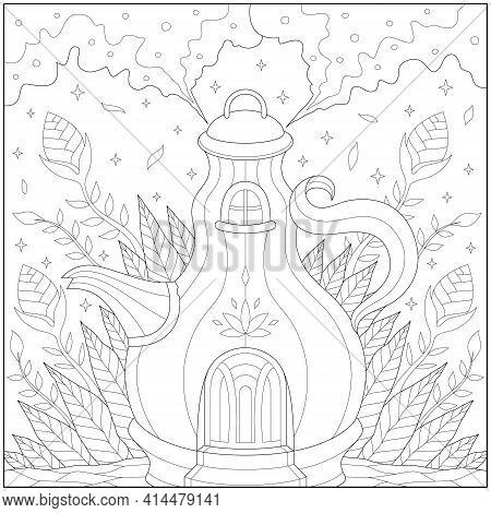 Fantasy Kettle House In The Forest With Steam Smoke. Learning And Education Coloring Page Illustrati