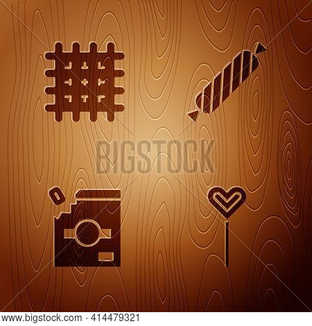 Set Lollipop, Cracker Biscuit, Candy Packaging For Sweets And On Wooden Background. Vector