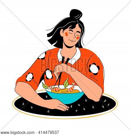 Half-length Portrait Of Woman Sitting Eating Seafood Noodles With Chopsticks, Cartoon Character Vect