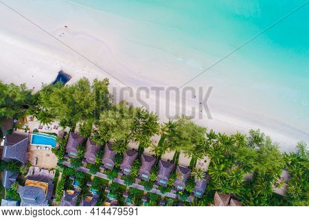 Sea Beach With Resort Resident And Coconut Palm Tree Aerial View