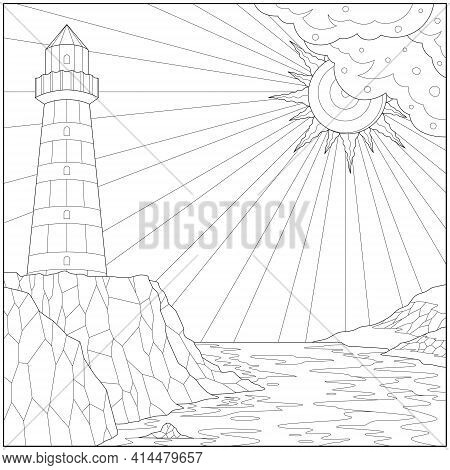 Fantasy Lighthouse On The Shore Under The Sunlight. Learning And Education Coloring Page Illustratio