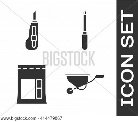 Set Wheelbarrow, Stationery Knife, Cement Bag And Screwdriver Icon. Vector