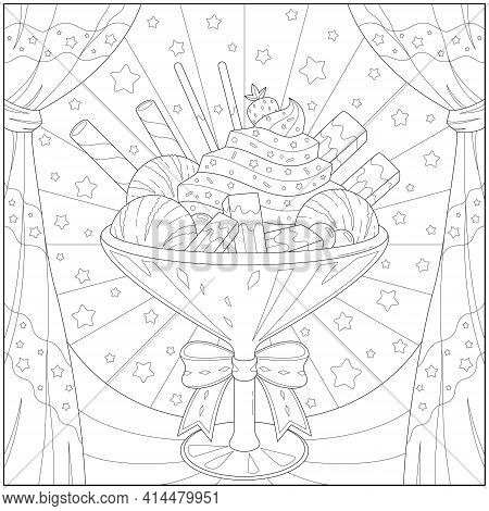 Amazing And Delicious Parfait With Ice Cream And Fruit. Learning And Education Coloring Page Illustr