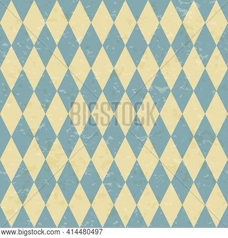 Circus Carnival Retro Vintage Dominoes Seamless Pattern. Diamond Shaped Rhombuses. Textured Old Fash