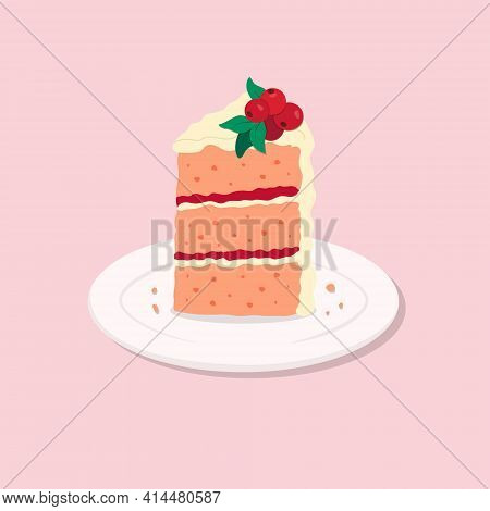 Colorful Sweet Cake Slice. A Piece Of Cake For Happy Birthday, Weddings, Celebrations, Greeting, Inv