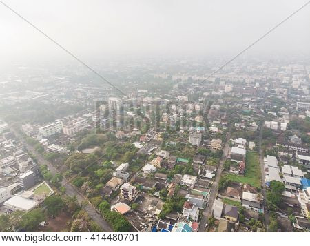Aerial View City Building With Air Pollution Remains At Hazardous Levels Pm 2.5 Pollutants