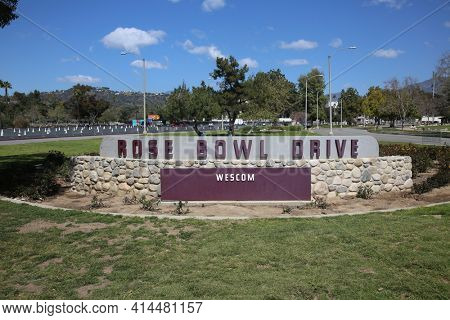 PASADENA, CA USA - March 26, 2021: Rose Bowl stadium and logo. The Rose Bowl located in Pasadena California is a United States outdoor Foot Ball and Sports stadium. Entrance Sign. Editorial Use Only.
