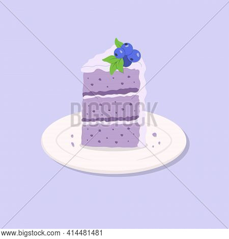 Colorful Sweet Cake Slice. A Piece Of Cake For Party, Happy Birthday, Weddings, Celebrations, Greeti