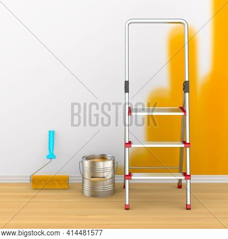 Repair in room. Painting of wall. 3D illustration