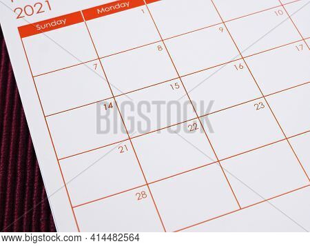 2021 Calendar Background, Focus On 14th On The Table. The Concept Valentine's Day, Anniversary, And