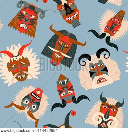 Busos.traditional Carved Wood Masks For The Busojaras (hungarian, Meaning