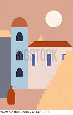 Old City Landscape With Stairs And Vases In Boho Style. Minimalist Summer Design For Travel Advertis