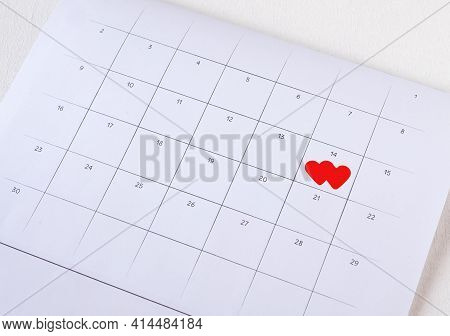 Number 14 On The Calendar Page, Close Up. The Concept Valentine's Day, Anniversary, And Wedding. Col