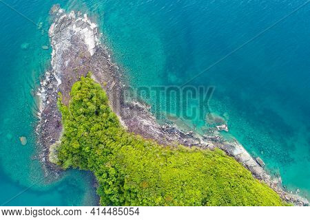 Aerial View Seascape Tropical Green Tree Forest On Sea Island