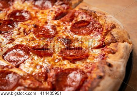 Tasty Pizza. Top And Side View Of Hot Delicious Pizza. With Copy Space For Text. Flat Lay. Banner