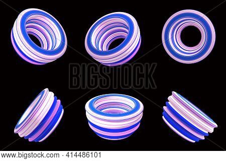 Sets Of 3d Abstract Ring Model With Color Lines (white, Pink, Blue) On The Black Background.