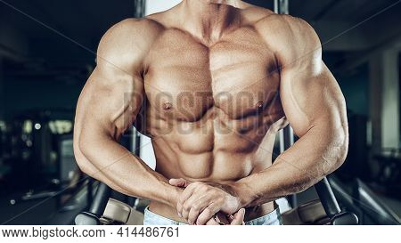 Strong Athletic Man Fitness Model Torso Showing Six Pack Abs Close Up Strong Abs Guy Showing In The