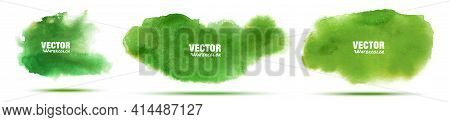 Green Abstract Hand Drawn Watercolor Background Set. Watercolor Color Splashing On The Paper. Vector