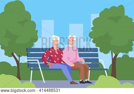 Seniors Couple In Park. Elderly People Sitting On Bench. Old Man And Woman Walking In City Recreatio