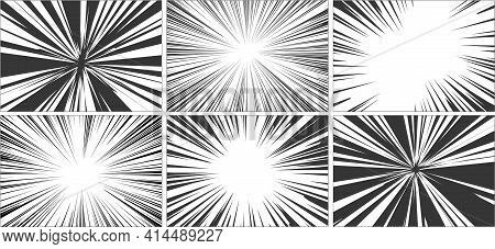 Comic Book Motion Effect. Black And White Diverging Rays. Pop Art Halftone Design. High Speed Or Bom