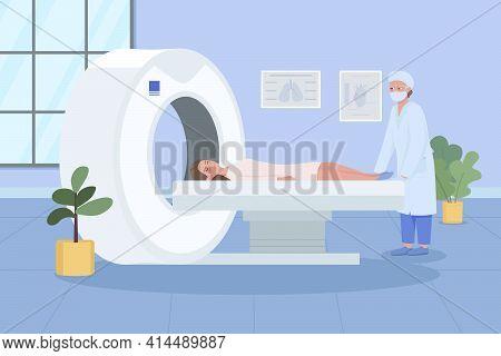Mri Scanning At Hospital Flat Color Vector Illustration