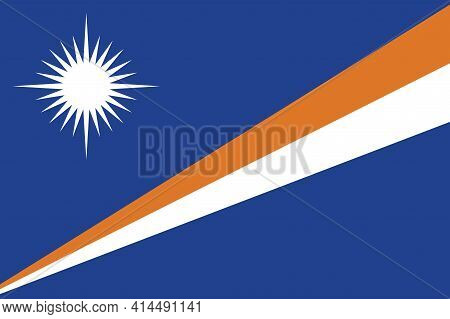 Republic Of The Marshall Islands Flag, Official Colors And Proportion Correctly. Marshall Island Fla