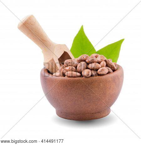 Ile Of Pinto Beans Isolated On White Background