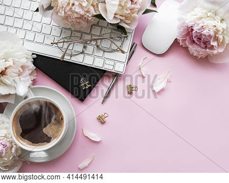 Flat Lay Top View Women's Office Desk With Flowers. Female Workspace With Laptop, Flowers Peonies, A