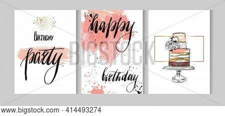 Set Of Birthday Greeting Abstract Textured Cards Set Design With Handwritten Lettering Happy Birthda