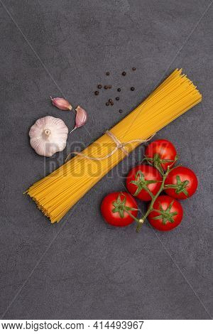 Pasta Spaghetti Ingredients Concept On Black Background Top View
