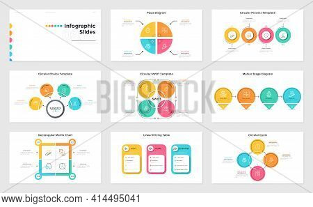 Collection Of Infographic Slide Templates For Business Presentation - Pie Chart Divided Into Sectors