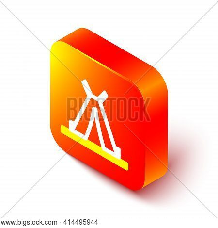 Isometric Line Traditional Indian Teepee Or Wigwam Icon Isolated On White Background. Indian Tent. O