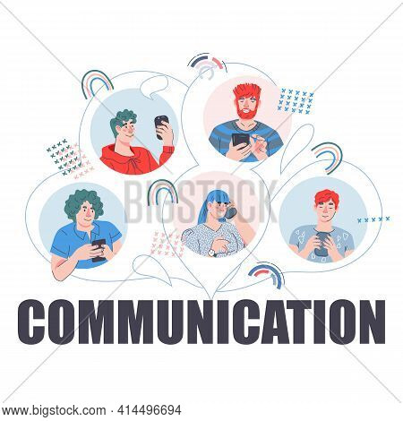 Communication Banner Design With Avatars Of Young People With Mobile Phones. Online Chat And Mobile