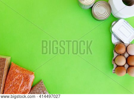 Food Supplies Crisis Food Stock For Quarantine Isolation Period On Gren Background.buckwheat. Lentil
