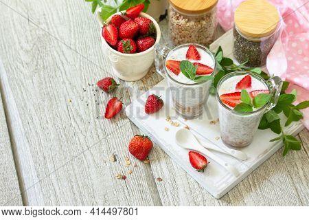 Healthy Eating Concept Breakfast. Homemade Granola With Strawberry, Yogurt, Chia Seeds, Homemade Gra