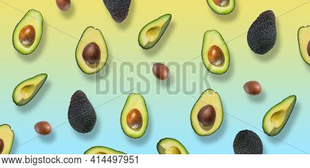 Pattern Of Fresh Ripe Green Avocados. Avocado Banner. Avocado Pieces And Halves Isolated On Colourfu