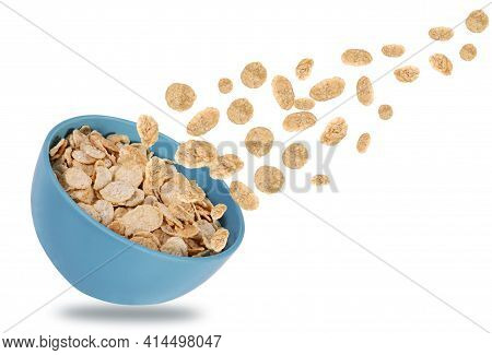 Bowl Of Corn Flakes. Corn Flakes On Isolated White Background In The Air Or Falling. Diet Concept