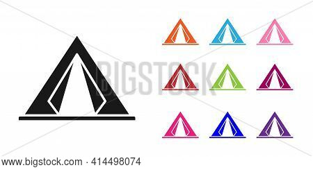Black Tourist Tent Icon Isolated On White Background. Camping Symbol. Set Icons Colorful. Vector Ill