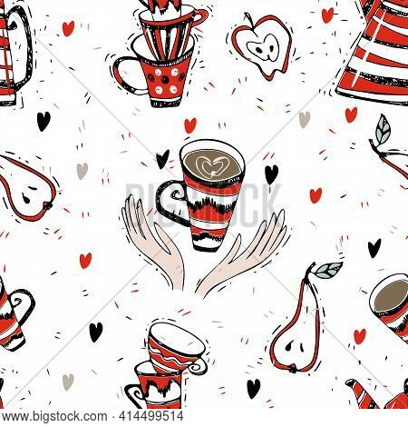 Seamless Pattern On The Theme Of Tea Drinking. Tea With A Kettle. Tea Time. Vector