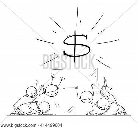 Group Of People Or Businessmen Worship Or Invoke Money Or Dollar Symbol As God.vector Cartoon Stick