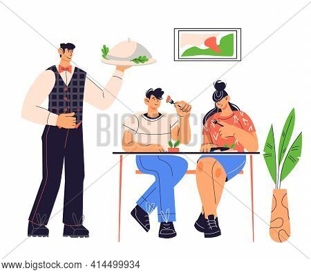 Cafe Or Restaurant Service Scene With Clients Sitting At Table And Waiter, Cartoon Flat Vector Illus