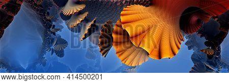 Abstract underwater background, fantastic orange shells and fictional shapes, 3D render illustration.
