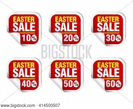 Easter Sale Red Sticker Icon Set. Sale 10%, 20%, 30%, 40%, 50%, 60% Off. Vector Illustration