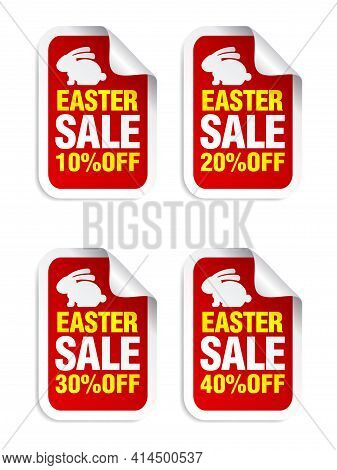 Easter Sale Red Sticker. Sale 10%, 20%, 30%, 40% Off. Stickers Set With Bunny. Vector Illustration