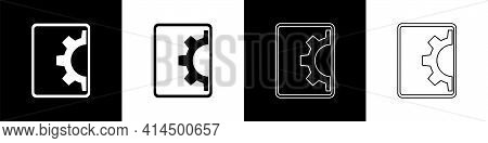 Set Software, Web Development, Programming Concept Icon Isolated On Black And White Background. Prog